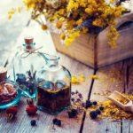 Fľaša tinktúry malavit a suché zdravé byliny drevené lopatka liečivých bylinkami