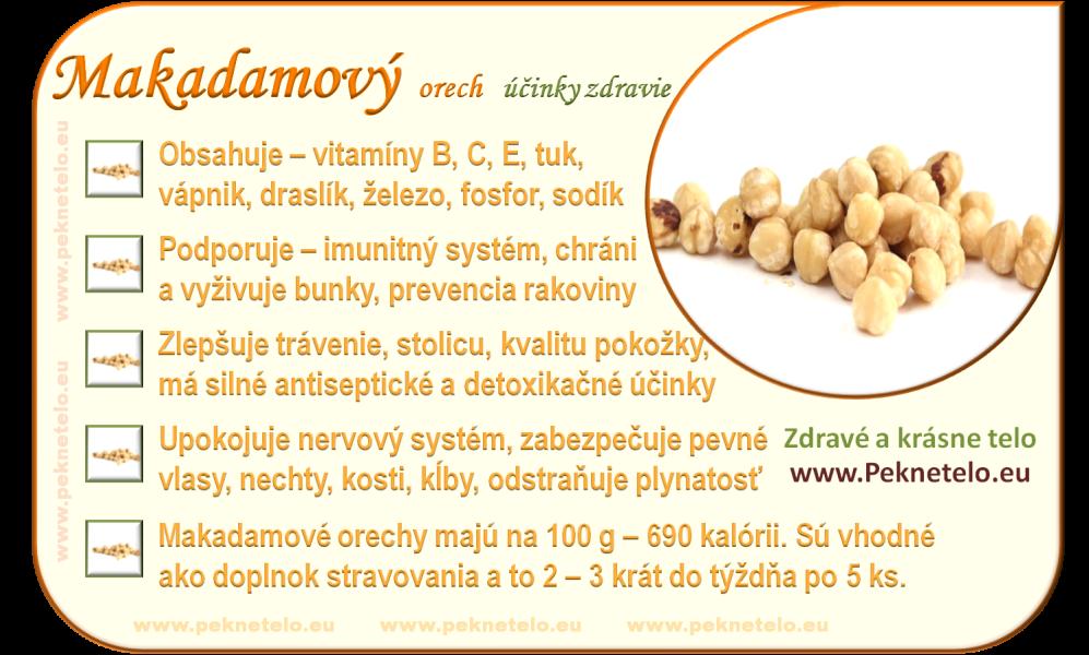 Makadamové ořechy účinky