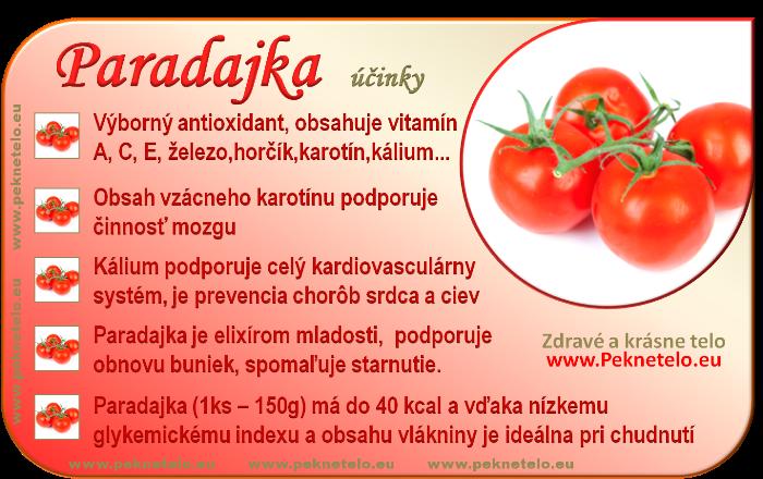 Paradajka (rajčina) - účinky na zdravie a chudnutie
