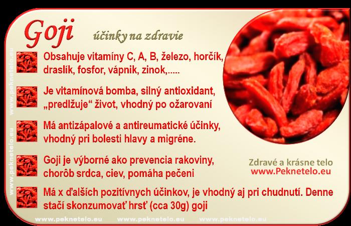 Goji - účinky na zdravie a chudnutie