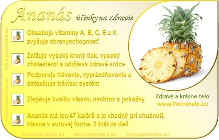 Ananás - účinky na zdravie a chudnutie