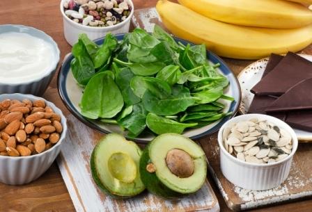horčík, magnézium, avokádo, banán, mandle