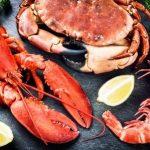 morské plody, krab, lobster, kreveta na kameni