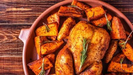 Pečené sladké zemiaky s kurčaťom