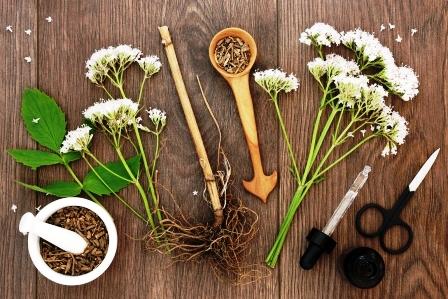 valeriana korenová bylina a kvety s tinkturou flasou